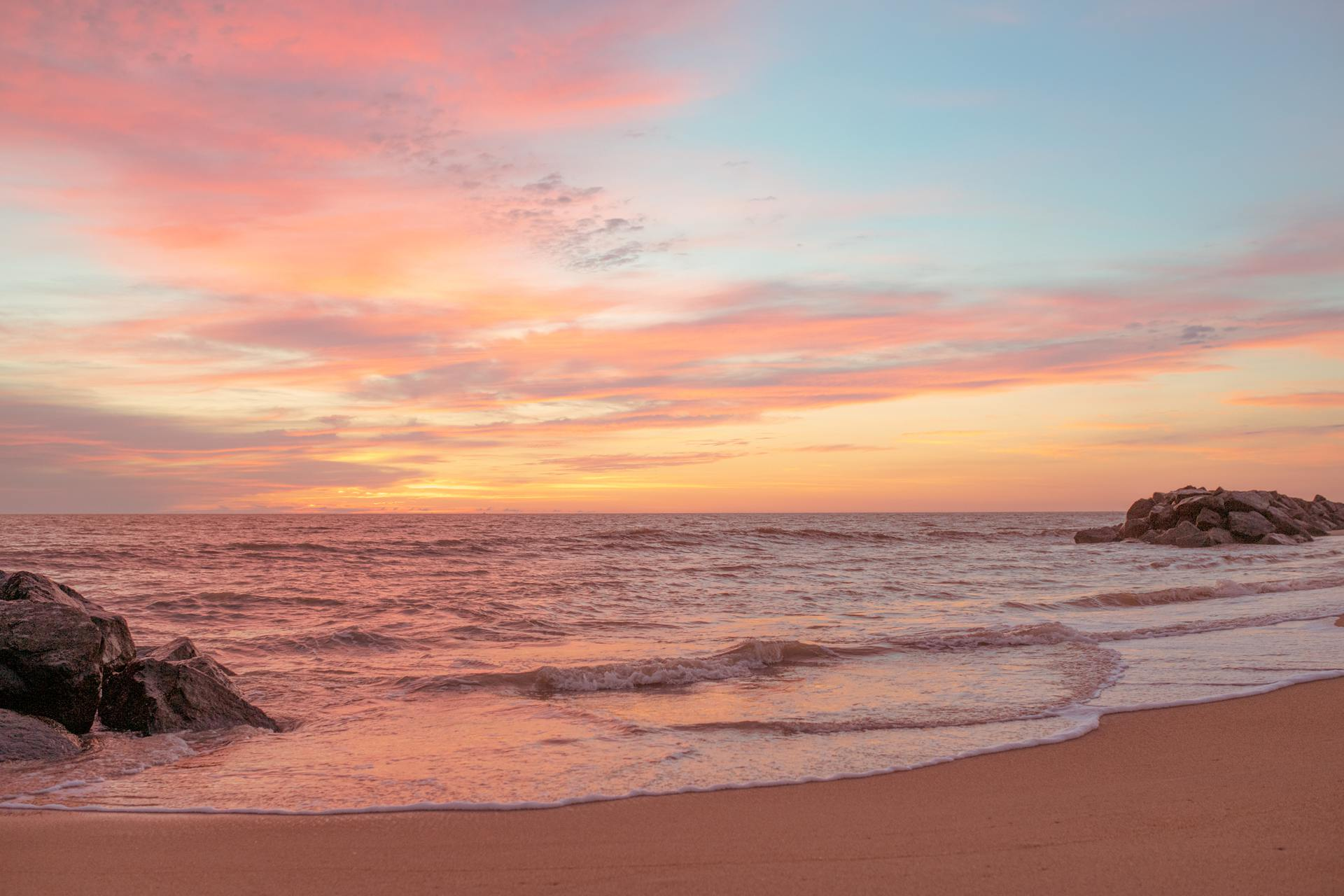 Sunrise at Fort Story Beach in Virginia. The colors are very saturated and vivid